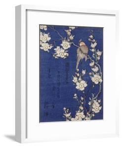 Bouvreuil et cerisier pleureur en fleur by Katsushika Hokusai