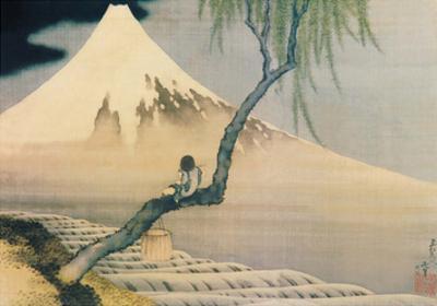 Boy Viewing Mount Fuji