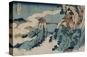 Cloud Hanging Bridge at Mount Gyodo, Ashikaga, from the Series 'Rare Views of Famous Japanese… by Katsushika Hokusai