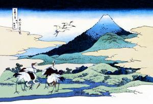 Cranes Nearby Mount Fuji by Katsushika Hokusai