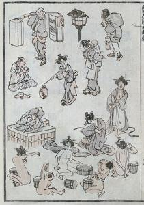 Daily Life Gestures, from a Manga (Colour Woodblock Print) by Katsushika Hokusai