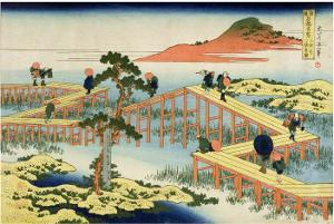 Eight Part Bridge, Province of Mucawa, Japan, circa 1830 by Katsushika Hokusai