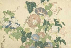 Frog and Morning Glories, C. 1832 by Katsushika Hokusai