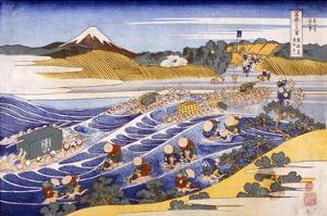 Fuji from the Ford at Kanaya (Colour Woodblock Print) by Katsushika Hokusai