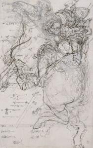 Guerrier sur un cheval cabré by Katsushika Hokusai