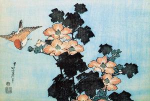 Hibiscus and Sparrow by Katsushika Hokusai
