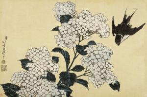 Hortensia et hirondelle by Katsushika Hokusai