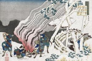 Hunters by a Fire in the Snow' by Katsushika Hokusai