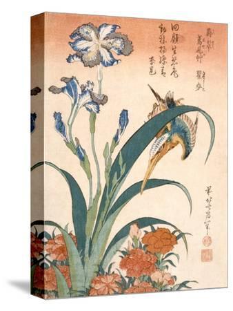 Kingfisher, Irises and Pinks (Colour Woodblock Print)