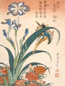 Kingfisher, Irises and Pinks (Colour Woodblock Print) by Katsushika Hokusai