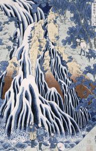 Kirifuri Fall on Kurokami Mount, from the Series 'shokoku Taki Meguri by Katsushika Hokusai