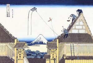 Kite Flying from Rooftop by Katsushika Hokusai