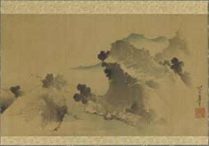 Landscape: Mountains, Stream and Boats, Edo Period by Katsushika Hokusai