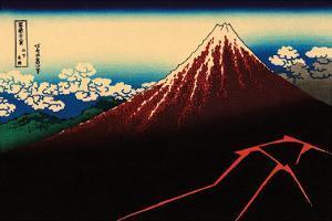 Lightning Below the Summit by Katsushika Hokusai