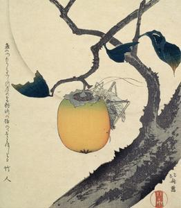 Moon, Persimmon and Grasshopper, 1807 by Katsushika Hokusai