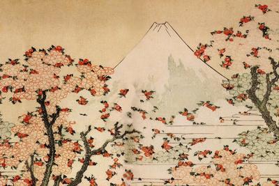 Katsushika Hokusai Mount Fuji Behind Cherry Trees and Flowers-Katsushika Hokusai-Art Print