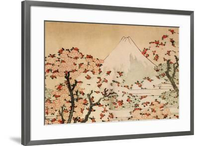 Katsushika Hokusai Mount Fuji Behind Cherry Trees and Flowers-Katsushika Hokusai-Framed Premium Giclee Print
