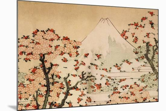 Katsushika Hokusai Mount Fuji Behind Cherry Trees and Flowers-Katsushika Hokusai-Mounted Premium Giclee Print