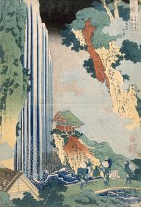Ona Waterfall on the Kisokaido, 1827 (Colour Woodblock Print) by Katsushika Hokusai