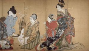 Paravent à huit volets : Neuf femmes jouant au jeu du renard by Katsushika Hokusai