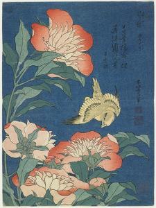 Peonies and Canary, C. 1833 by Katsushika Hokusai