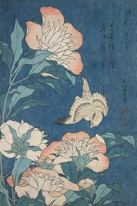 Peonies and Canary, c.1834 by Katsushika Hokusai