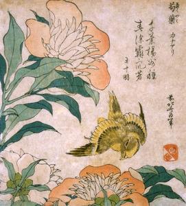 Peony and Canary by Katsushika Hokusai
