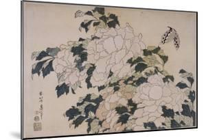Pivoines et papillons by Katsushika Hokusai