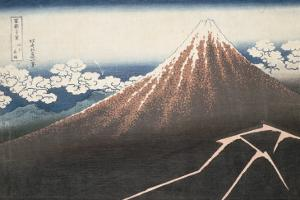 Pluie d'orage sous le sommet du Fuji by Katsushika Hokusai