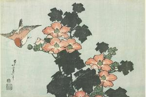 Rose Mallow and Sparrow, C. 1832 by Katsushika Hokusai
