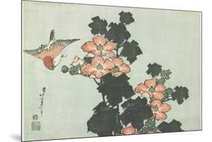 Rose Mallow and Sparrow, C. 1832 by Katsushika Hokusai