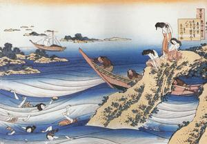 Sangi Takamura,9th CE.Female divers dive for abalone,a mussel. by Katsushika Hokusai