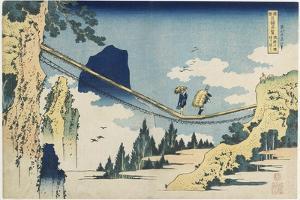Suspension Bridge Between Hida and Etchu Provinces, 1833-1834 by Katsushika Hokusai