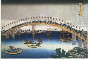 Temma Bridge, Osaka, Japan, 1830 by Katsushika Hokusai