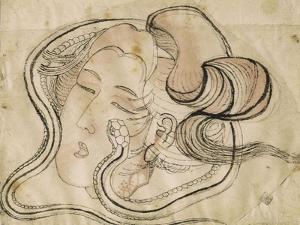 Tête de femme au serpent by Katsushika Hokusai