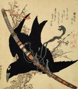 The Little Raven. Minamoto Clan Sword, C1823 by Katsushika Hokusai