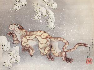 Tiger in a snowstorm. Edo Period, 1849 by Katsushika Hokusai