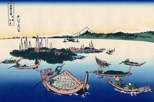Tsukada Island in the Musashi Province, c.1830 by Katsushika Hokusai
