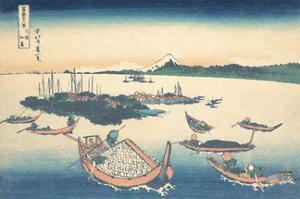 Tsukudajima in Musashi Province by Katsushika Hokusai