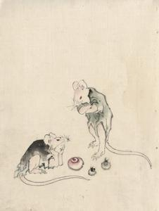 Two Mice in Council by Katsushika Hokusai