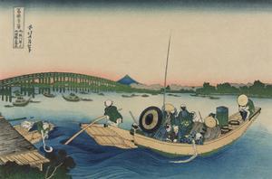 Viewing Sunset over Ryogoku Bridge from the Ommaya Embankment by Katsushika Hokusai