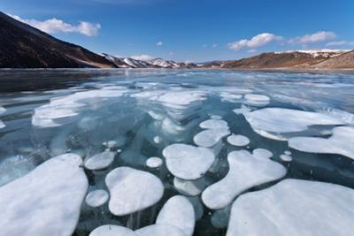 Baikal Lake in Winter. close View on Ice with Bubbles by katvic