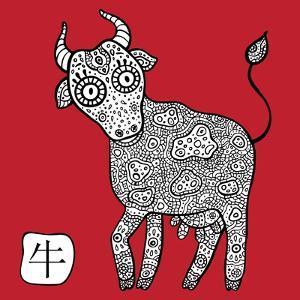Chinese Zodiac. Animal Astrological Sign. Cow. by Katyau
