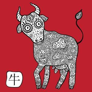 Chinese Zodiac. Animal Astrological Sign. Cow. by Katyau