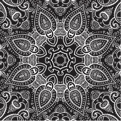 Lace Background: White on Black, Mandala