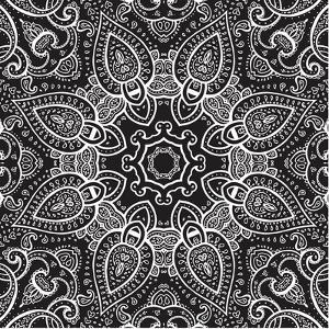 Lace Background: White on Black, Mandala by Katyau