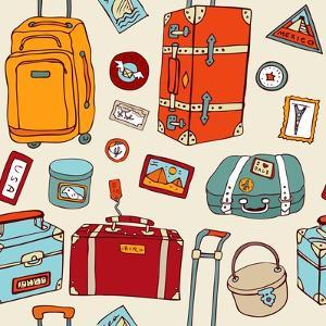 Travel Seamless Background. Suitcases And Bags by Katyau