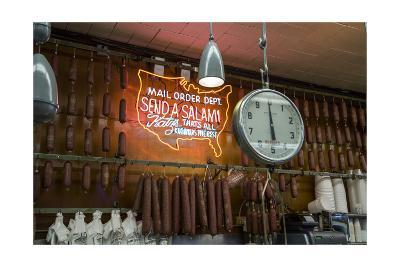 Katz's Deli Salamis with Scale (New York Landmark Eatery)-Henri Silberman-Photographic Print
