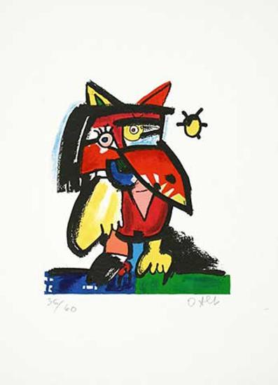 Katzenvogel mit Sonne-Otmar Alt-Limited Edition