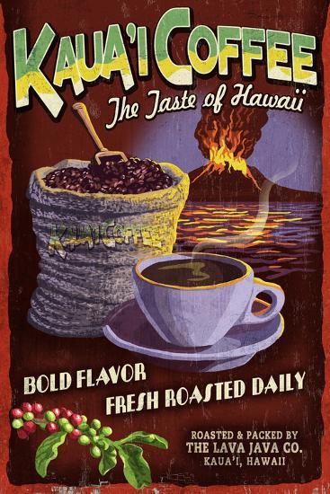 Kauai Coffee Vintage Sign - Kauai, Hawaii-Lantern Press-Wall Mural